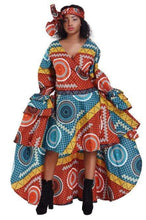 Load image into Gallery viewer, Ruffle Sleeve Hi-Low Ankara Print Dress 2244 - Advance Apparels Inc
