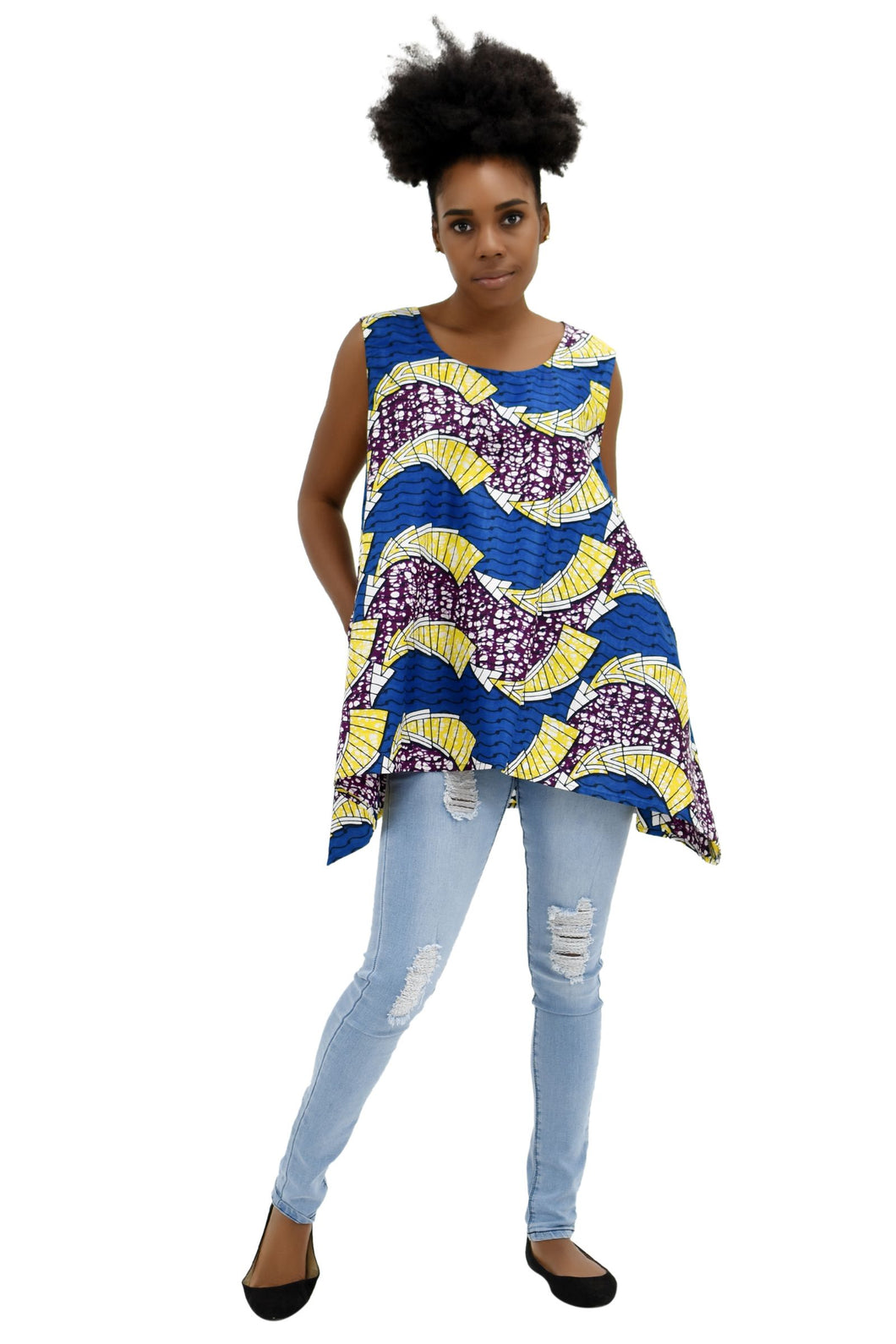 African Print A-Line Sleeveless Blouse 2164-405