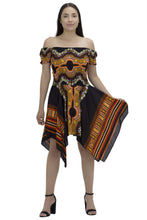 Load image into Gallery viewer, Tropical Dashiki Print Off Shoulder Dress TH356 - Advance Apparels Inc