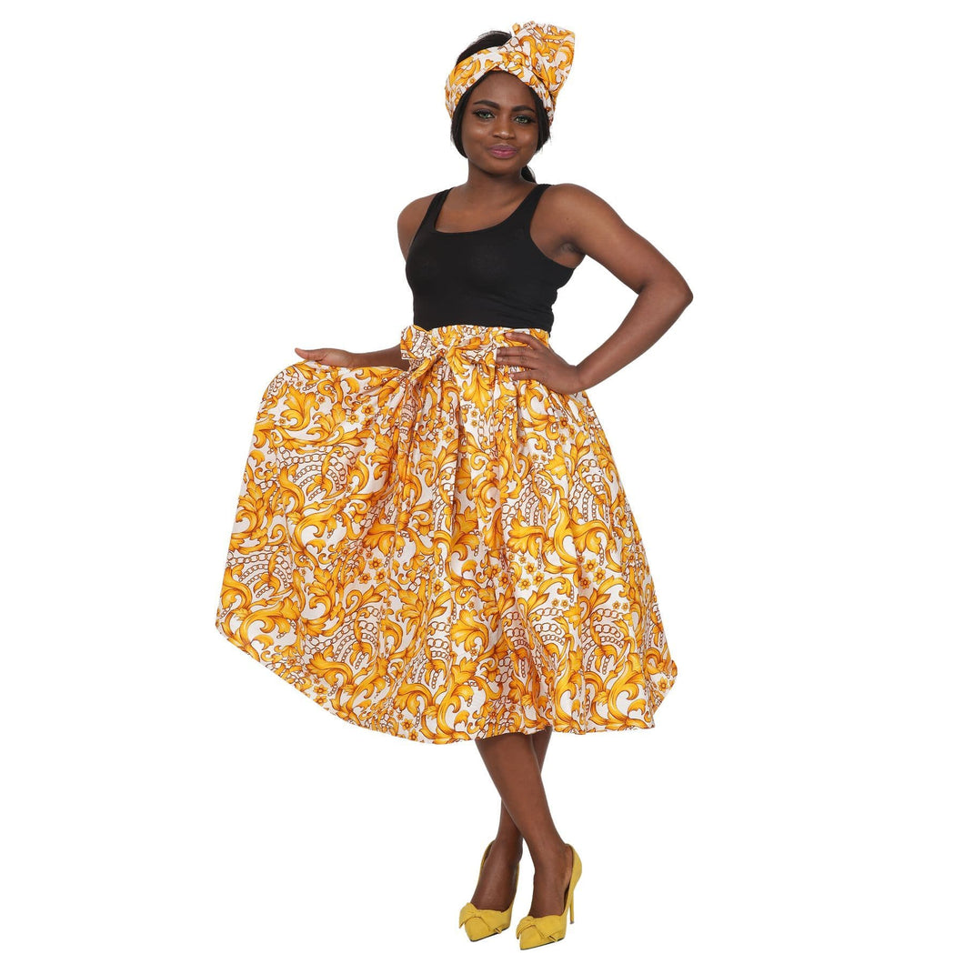 Gold Floral Ankara Print Mid-Length Maxi Skirt 16321-97 - Advance Apparels Inc