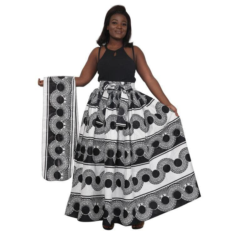 Tribal Monotone African Print Long Maxi Skirt Elastic Waist 16317-79 - Advance Apparels Inc