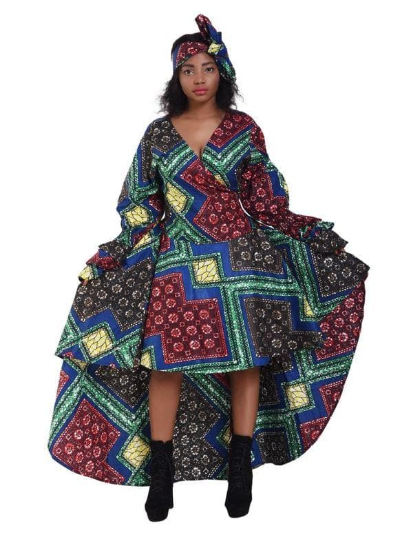 Ruffle Sleeve Hi-Low Ankara Print Dress 2244 - Advance Apparels Inc