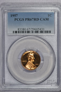 1957 Lincoln Cent Proof PR67RD CAMEO
