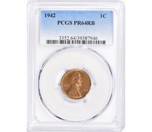 1942 Lincoln Cent Proof PCGS PR64RB