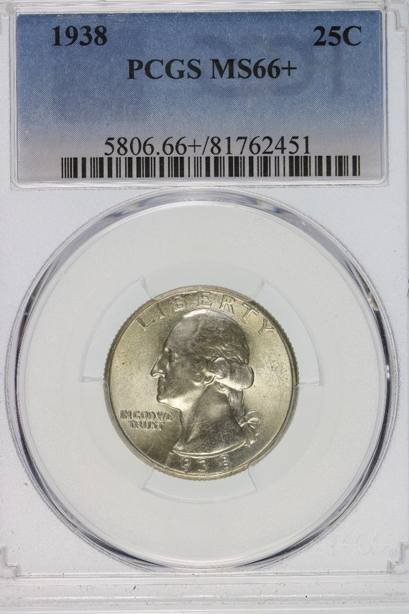 1938 Washington Quarter PCGS MS66+ 5806.66+.81762451