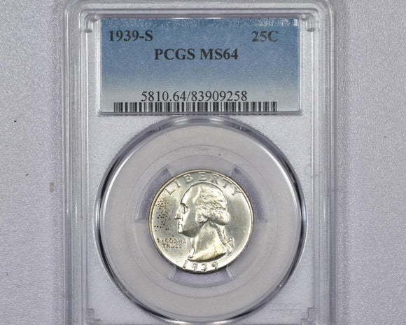 1939-S Washington Quarter PCGS MS64 5810.64.83909258