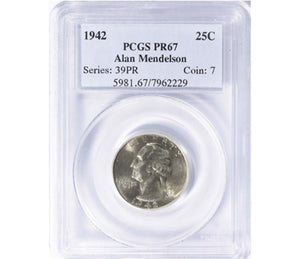 1942 Washington Quarter Proof PCGS PR67 5981.67.7962229