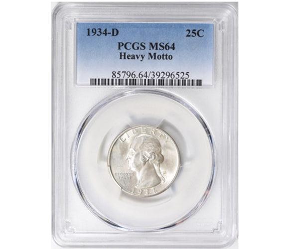 1934-D Washington Quarter PCGS MS64 Heavy Motto 85796.64.39296525