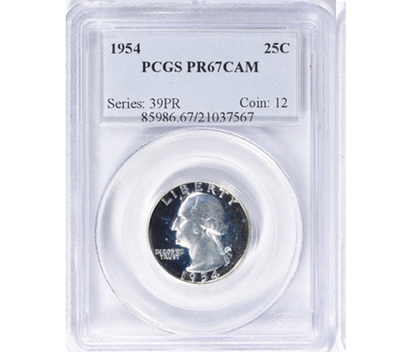 1954 Washington Quarter Proof PCGS PR67CAM 85986.67.10377567