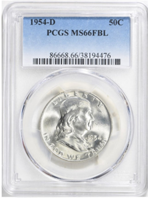 1954-D Franklin Half Dollar PCGS MS66FBL 86668.66.38194476