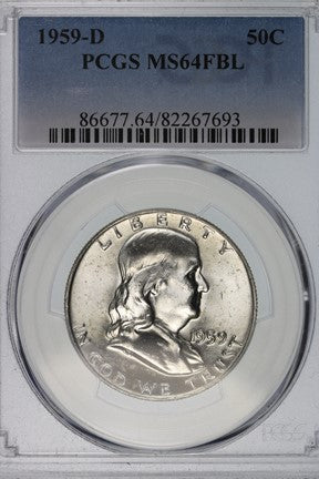 1959-D Franklin Half Dollar PCGS MS64FBL 86677.64.82267693