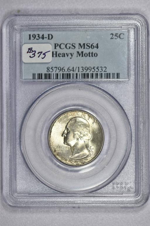 1934-D Washington Quarter PCGS MS64 Heavy Motto 85796.64.13995532