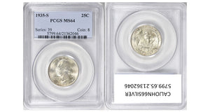 1935-S Washington Quarter PCGS MS64 5799.64.21362046