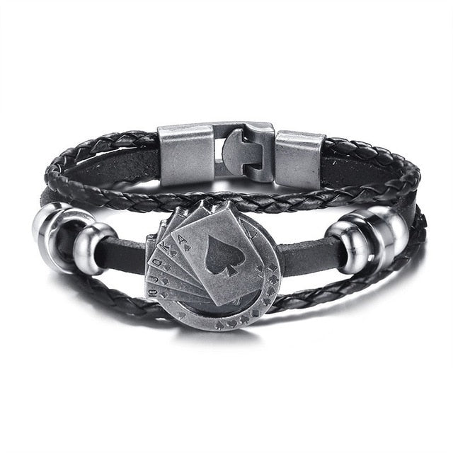 Vintage Men's Leather Bracelet with various designs - Giftbuzz.com