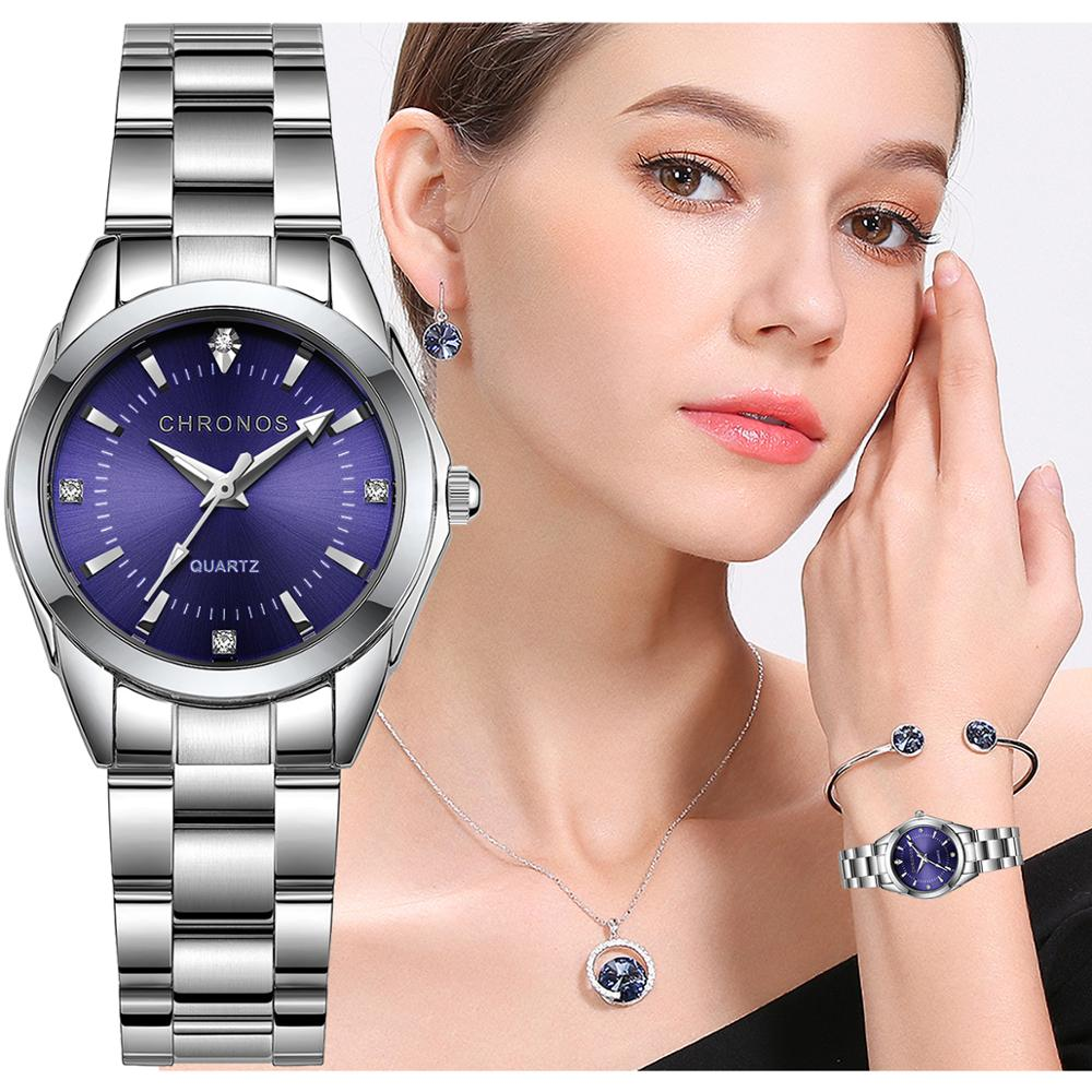 CHRONOS Women Stainless Steel Rhinestone Watch Silver Bracelet Quartz Waterproof Lady Business Analog Watches Pink Blue Dial