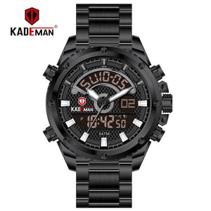 KADEMAN Mens Watches Fashion Sport Wristwatches Waterproof Dual Display Digital Watch Military Army Male Clock Relogio Masculino