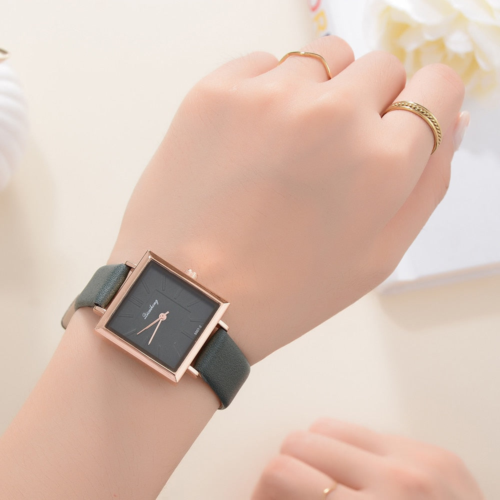 2019 Top Brand Square Women Bracelet Watch Contracted Leather Crystal WristWatches Women Dress Ladies Quartz Clock Dropshiping