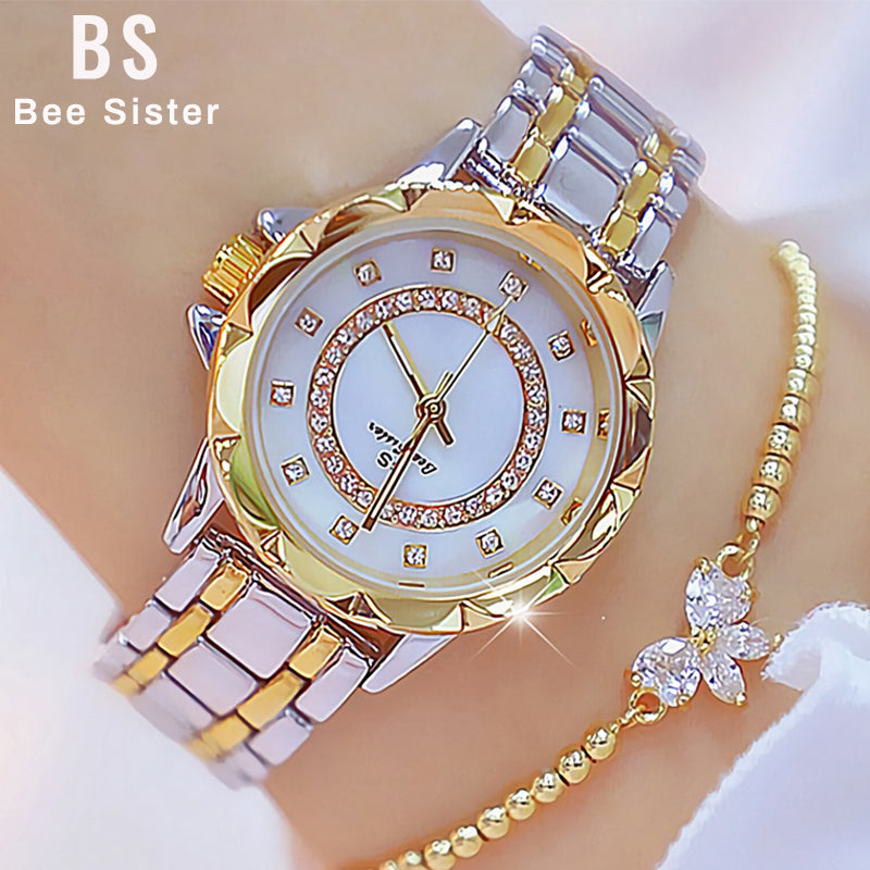 Diamond Women Luxury Brand Watch 2019 Rhinestone Elegant Ladies Watches Gold Clock Wrist Watches For Women relogio feminino 2020
