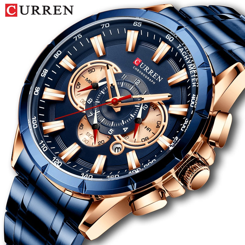 Curren Men's Watch Top Luxury Brand Big Dial Blue Quartz Men Watches Chronograph Sport Wristwatch Man Stainless Steel Date Clock