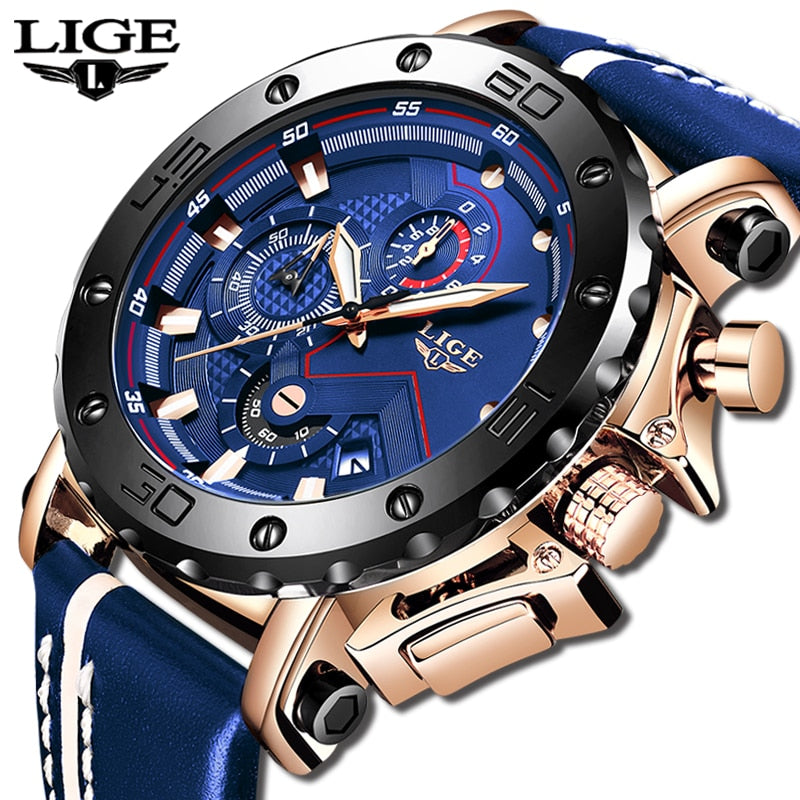 2020 LIGE Mens Watches Top Brand Luxury Fashion Military Quartz Watch Men Leather Waterproof Sport Chronograph Relogio Masculino