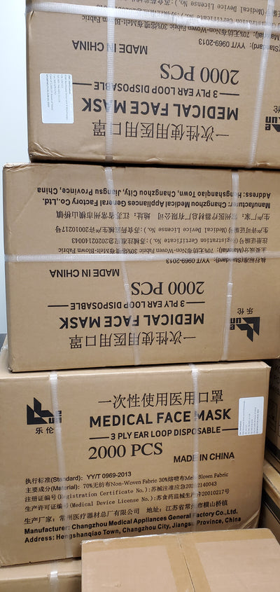 Carton of Medical Type EN14683:2019 IIR Health Canada Approved 3-Ply Mask - 2000 Masks Per Carton (IN STOCK).