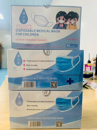 3PLY Paediatric Masks - Box of 50 or More.
