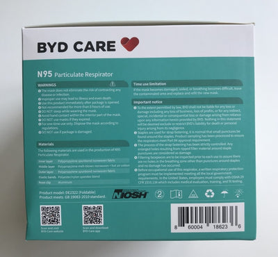 DAMAGED BOX -  BYD Folding Style N95 NIOSH / CDC  - Box of 20 or Cartons.
