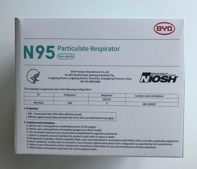 OMA Members Only BYD Folding Style N95 NIOSH / CDC / Health Canada Approved Mask Box of 20 (IN STOCK).
