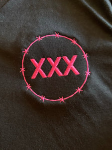 Straight Edge Pink Embroidered Crop Top