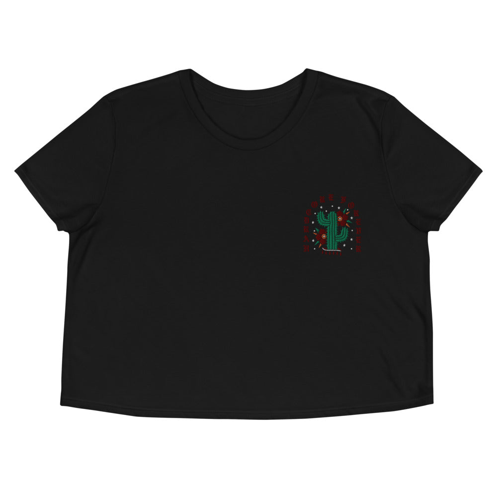 Hardcore Cactus Embroidered Crop Tee