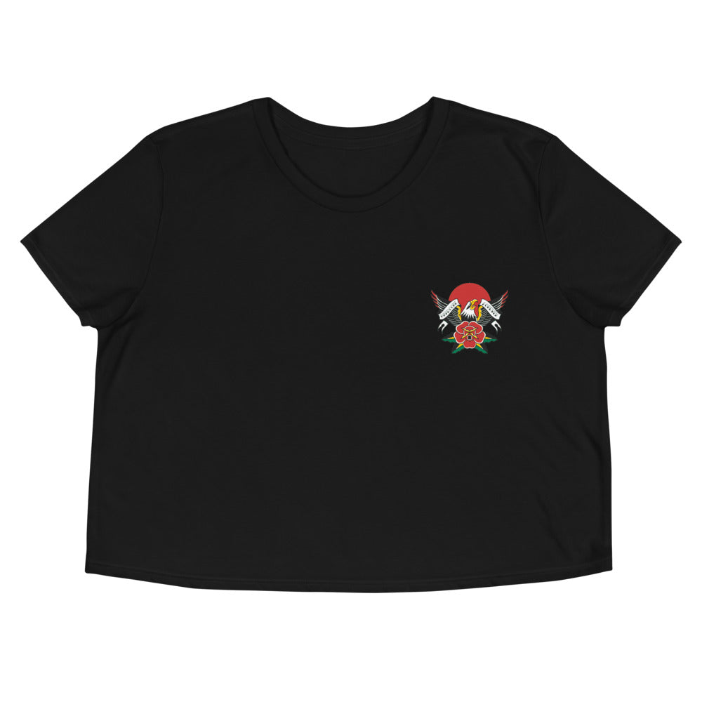 Hardcore Eagle Embroidered Crop Tee