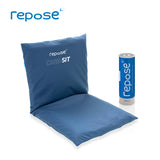 Repose Care-sit cushion back and seat, with blue cover and the Repose pump by the side.