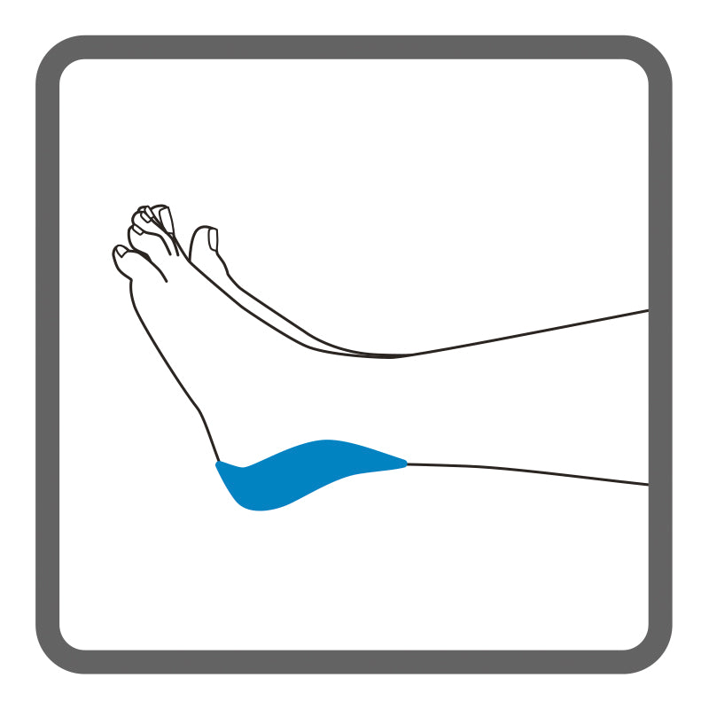 Illustration of the left heel, with shading to represent where Dermisplus Prevent Heel  should be placed