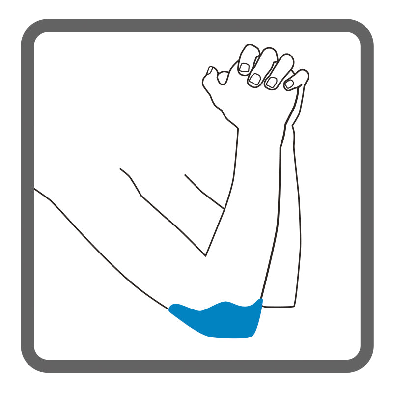 Illustration of arms bent at the elbow, with shading on the right elbow, to highlight where Dermisplus Prevent heel can be used to on the elbow