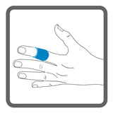 Illustration of a left hand, with shading to show the placement of Dermisplus Prevent strip, wrapped around the index finger.