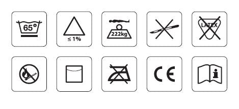 The symbols that can be found printed on the  cover, including the CE Mark, max weight of 22kg and cleaning instructions.