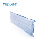 Repose Sole Protector with blue base and clear top,  standing upright on the long edge.