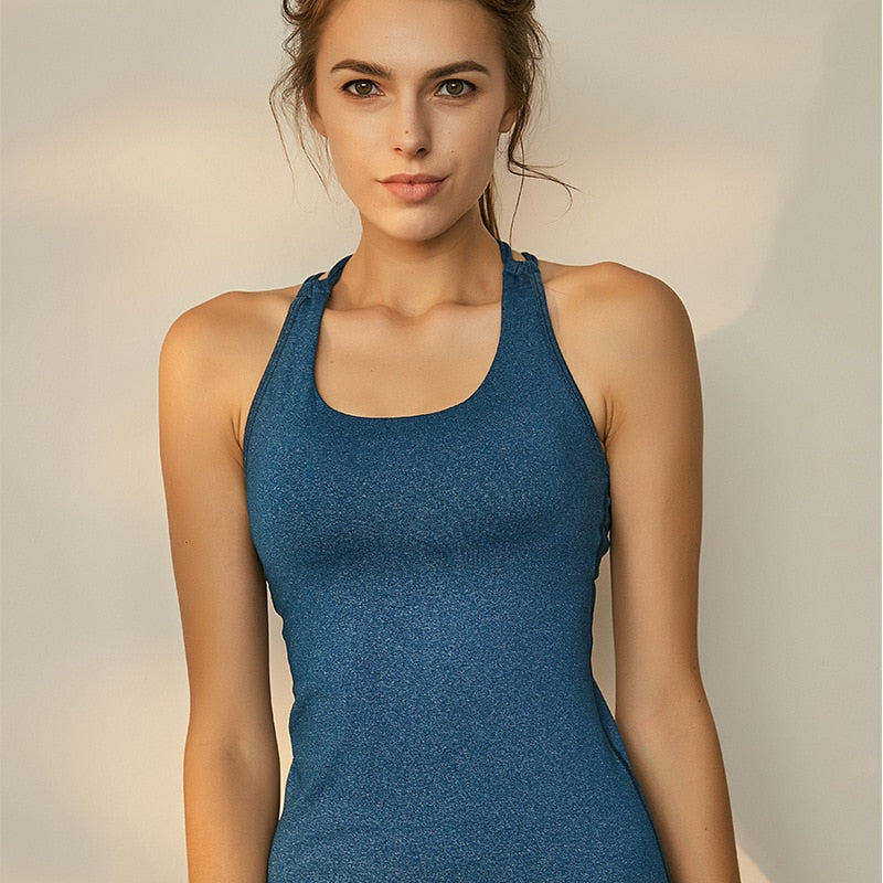 Blue Crisscross Back Strappy Yoga Tops - yogaluga