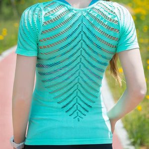 Short Sleeve Hollow Out Yoga Top - Yogaluga