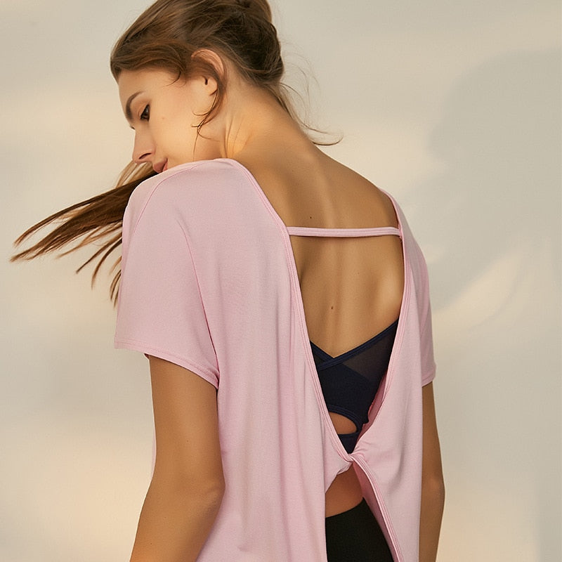 Twist Backless Short Sleeve Yoga Tops - Yogaluga