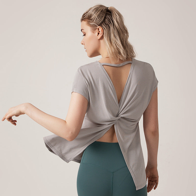 Back Split Twist Loose Fit Yoga Top - Yogaluga