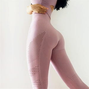 Hollow Side Pink Sport Yoga Pants - Yogaluga