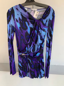 Versace purple, blue and black top