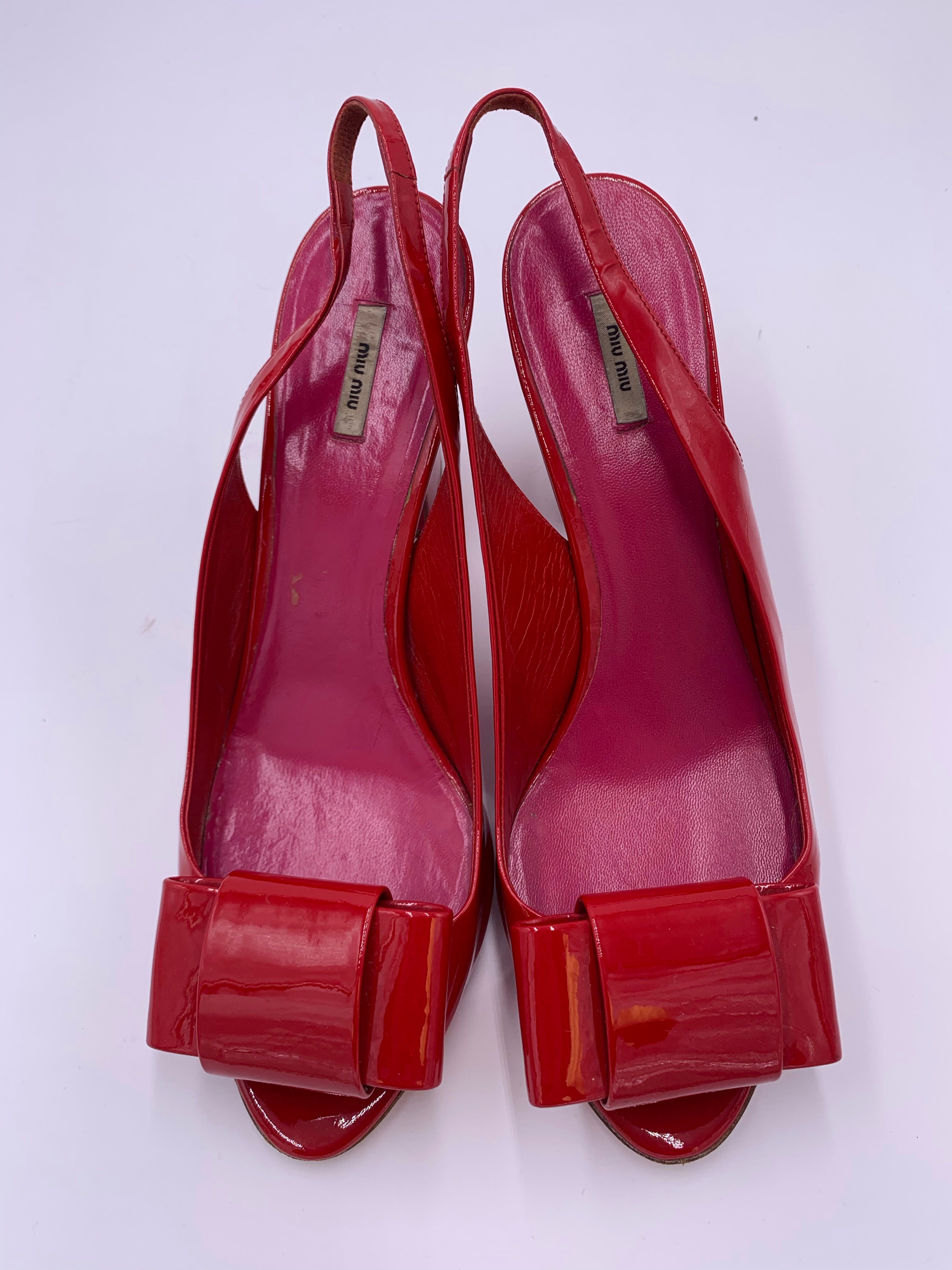 Miu Miu Bow Peep Toe Sling Back heels in Red