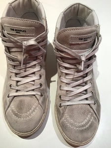 The Kooples Paris distressed leather gold star sneakers