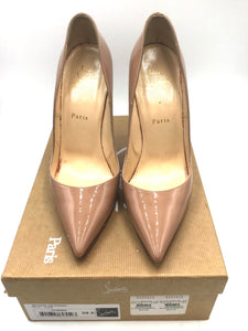 Louboutin So Kate nude patent leather pointed toe pumps