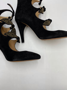 Chloé Studded Bow Suede Ankle Booties - Women's 9