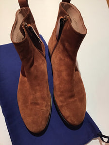 Stuart Weitzman brown suede ankle boots with non slip bottoms