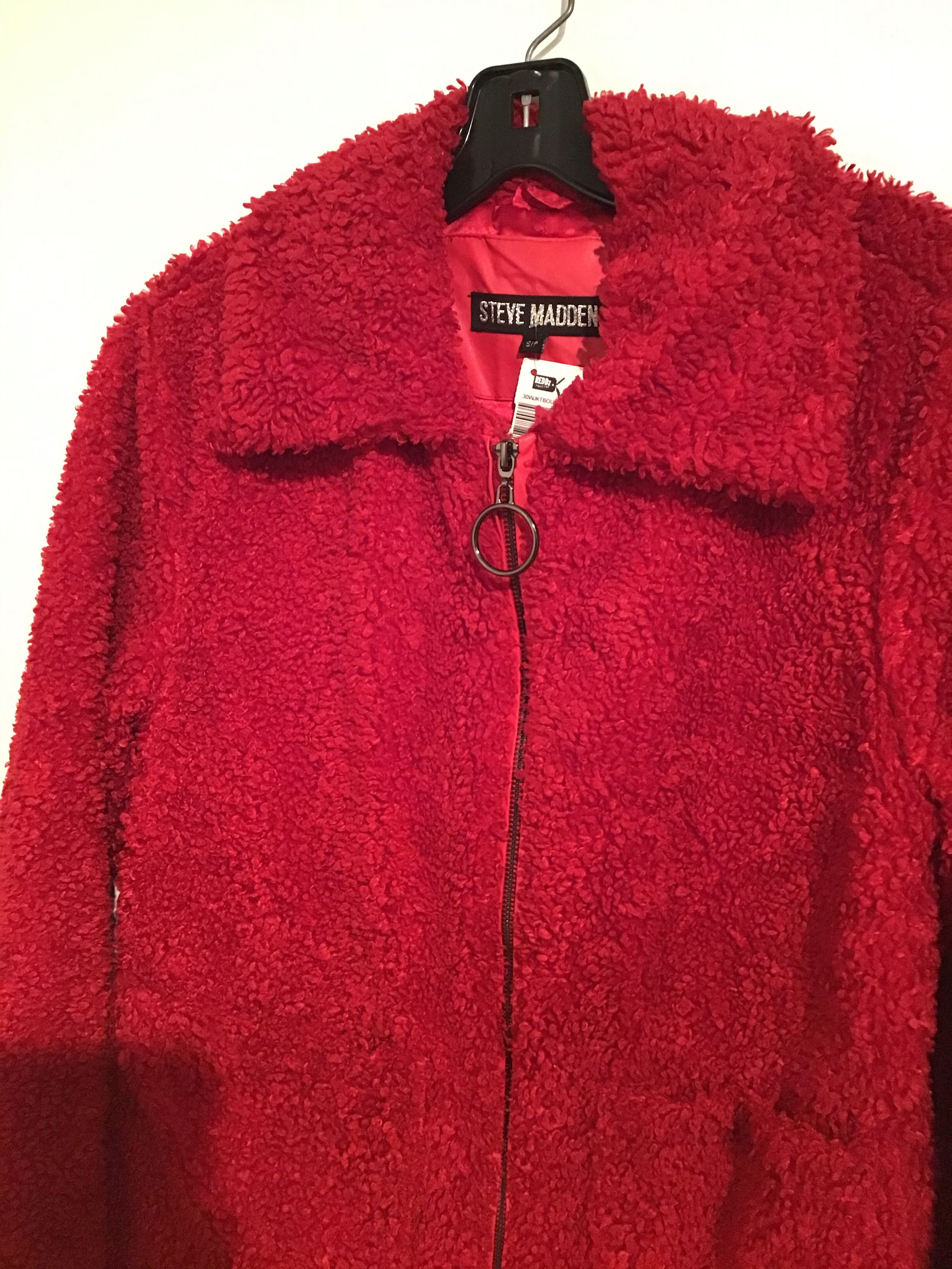 Steve Madden red faux fur zip up fleece