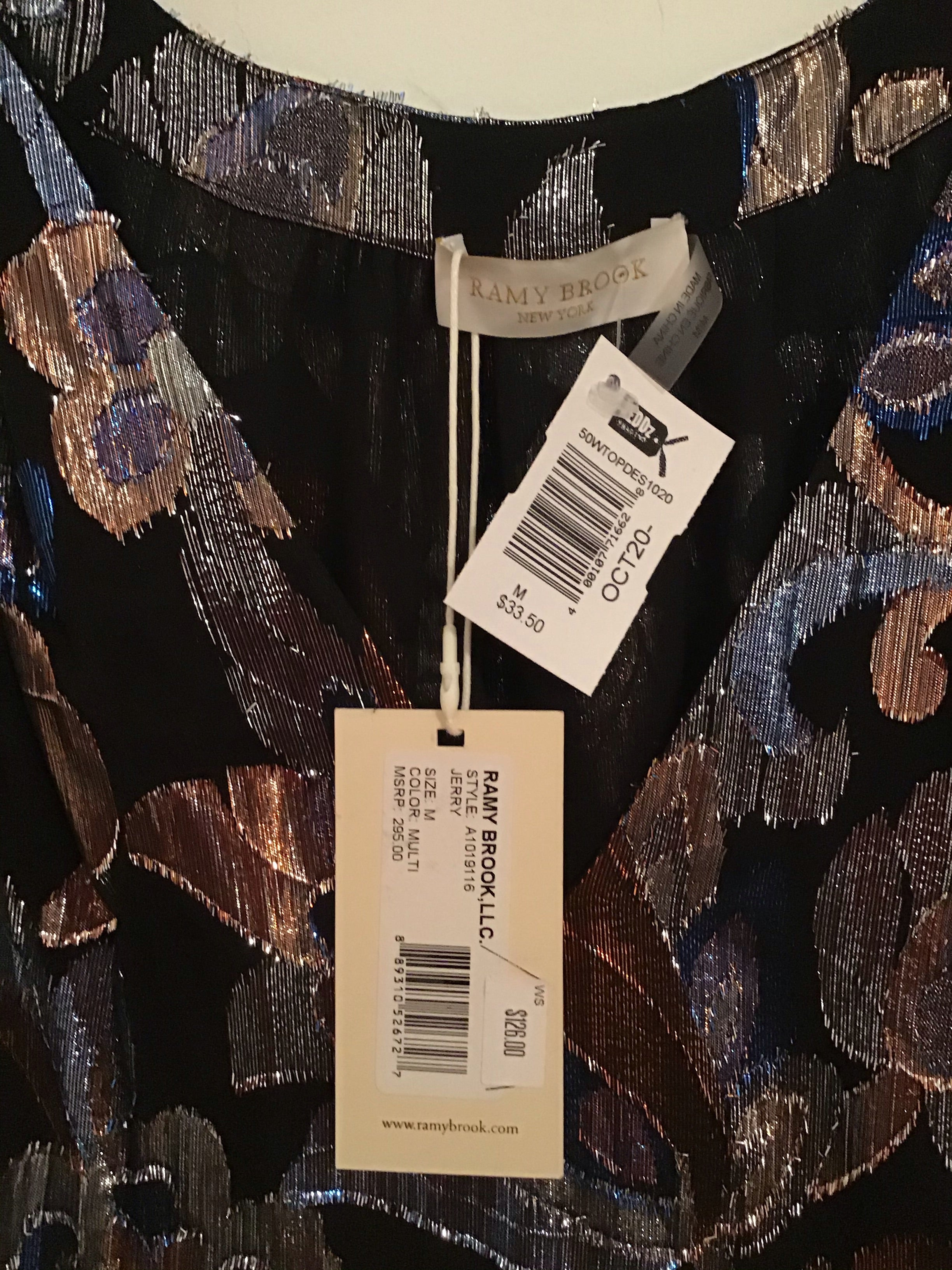 Ramy Brook New York metallic multicolored blouse
